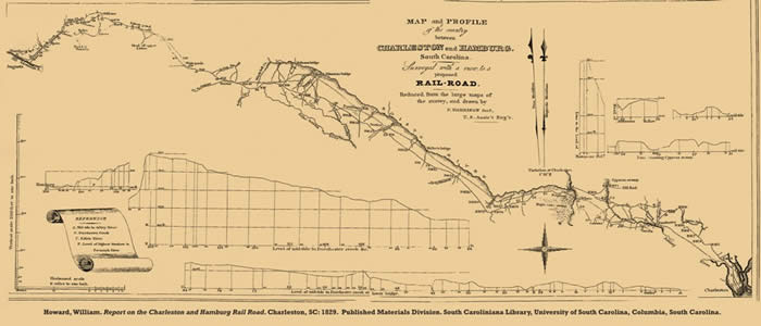 Charleston Hamburg Railroad Map, 1828
