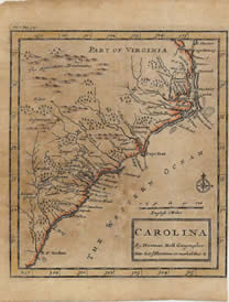 Map of Carolina by Herman Moll, 1717